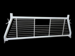 TrailFX Headache Racks; Round Tube Louver; Without Rear Cab Window Cut Out; Powder Coated; White; Steel