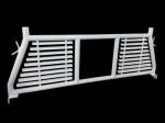 TrailFX Headache Racks; Round Tube Louver; With Rear Cab Window Cut Out; Powder Coated; White; Steel